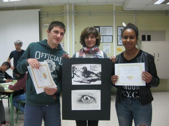 Iván Sarmiento 3º A (1º Premio) y Miriam Eghianruwa 3º D (2º Premio)