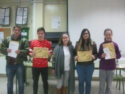 Milagros con Iván Sarmiento, Flavio Petrut, Bárbara Sevillano y Mónica López